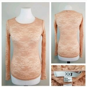 Forever21 Jr M Blush Pink Stretchy Lace Top